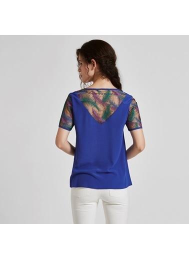Vekem-Limited Edition Sıfır Yaka Şifon Detaylı Bluz Sarı